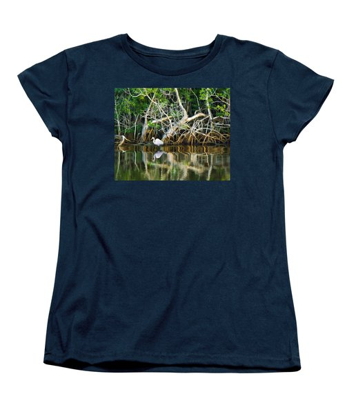 Great White Egret And Reflection In Swamp Mangroves Women's T-Shirt (Standard Cut)