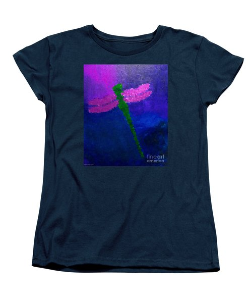 Women's T-Shirt (Standard Cut) featuring the painting Green Dragonfly by Anita Lewis