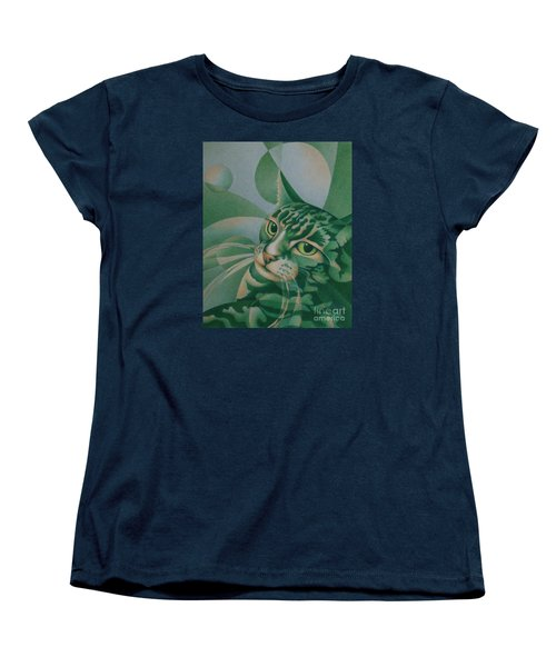 Women's T-Shirt (Standard Cut) featuring the painting Green Feline Geometry by Pamela Clements