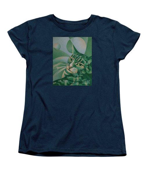 Green Feline Geometry Women's T-Shirt (Standard Cut)