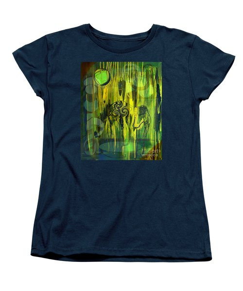 Women's T-Shirt (Standard Cut) featuring the painting Green Light by Yul Olaivar