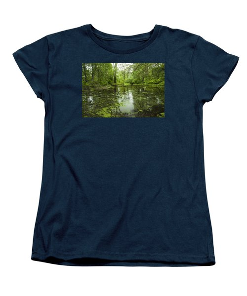 Women's T-Shirt (Standard Cut) featuring the photograph Green Blossoms On Pond by Jerry Cowart