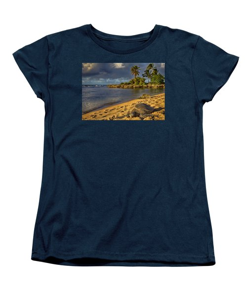 Green Sea Turtle At Sunset Women's T-Shirt (Standard Cut) by Douglas Barnard