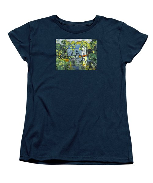 Women's T-Shirt (Standard Cut) featuring the painting Green Township Mill House by Michael Daniels