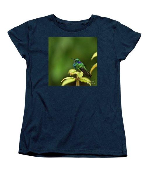 Green Violetear Hummingbird Women's T-Shirt (Standard Cut) by Heiko Koehrer-Wagner