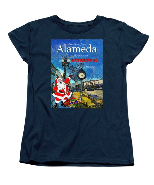 Alameda Christmas Greeting Women's T-Shirt (Standard Cut) by Linda Weinstock