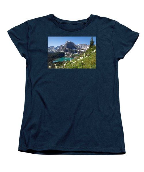Grinnell Lake With Beargrass Women's T-Shirt (Standard Cut) by Jack Bell