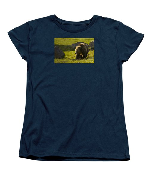 Grizzly Bear-signed-#4545 Women's T-Shirt (Standard Cut) by J L Woody Wooden