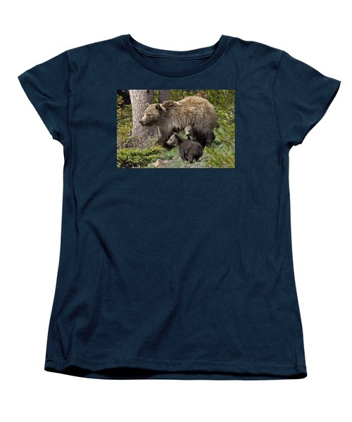 Grizzly Bear With Cubs Women's T-Shirt (Standard Cut) by Jack Bell