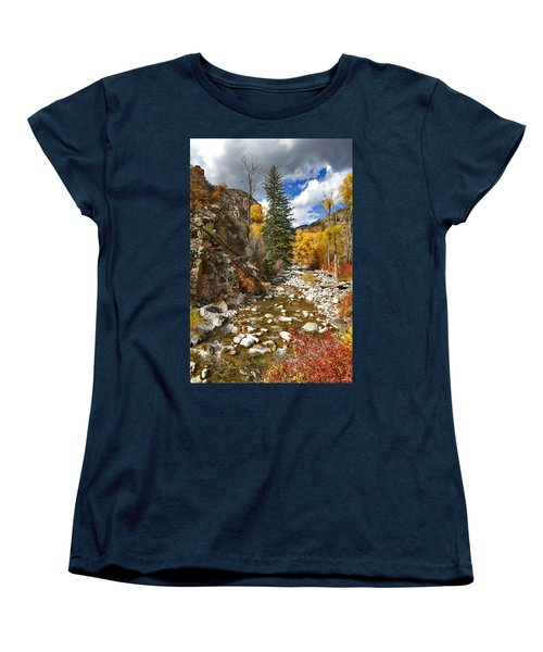 Women's T-Shirt (Standard Cut) featuring the photograph Grizzly Creek Cottonwoods Vertical by Jeremy Rhoades