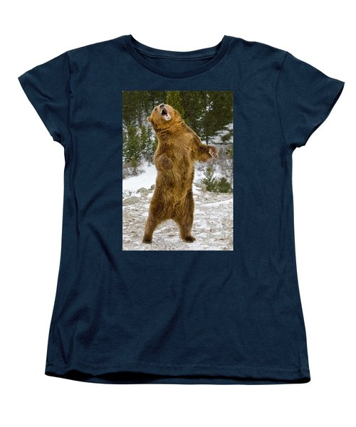 Grizzly Standing Women's T-Shirt (Standard Cut) by Jerry Fornarotto