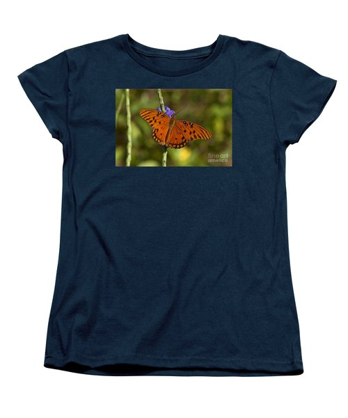 Women's T-Shirt (Standard Cut) featuring the photograph Gulf Fritillary Butterfly by Meg Rousher