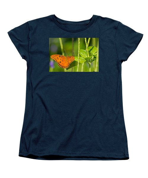 Women's T-Shirt (Standard Cut) featuring the photograph Gulf Fritillary by Jane Luxton