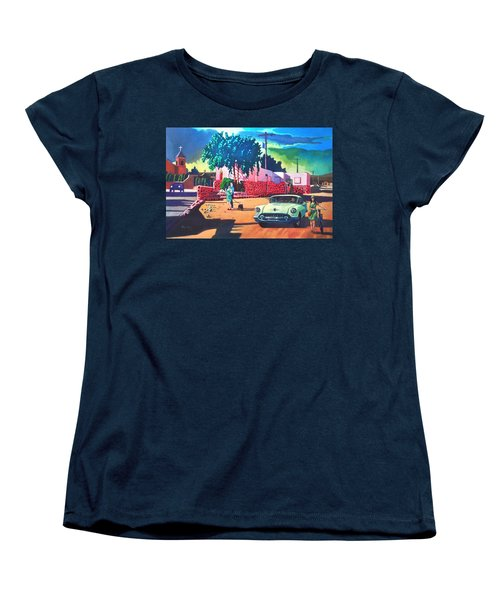 Women's T-Shirt (Standard Cut) featuring the painting Guys Dolls And Pink Adobe by Art James West