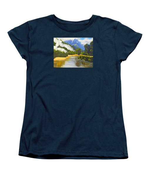 Women's T-Shirt (Standard Cut) featuring the painting Haast River New Zealand by Pamela  Meredith