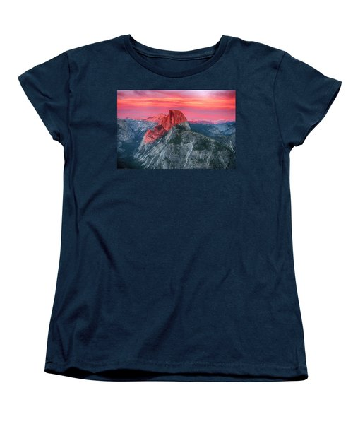 Women's T-Shirt (Standard Cut) featuring the painting Half Dome Sunset From Glacier Point by John Haldane