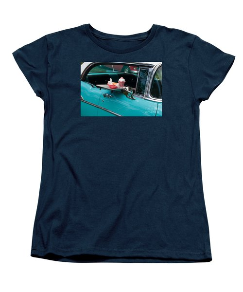Women's T-Shirt (Standard Cut) featuring the photograph Hamburger Drive In Classic Car by Gunter Nezhoda
