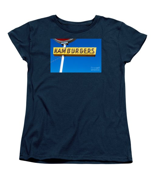 Hamburgers Old Neon Sign Women's T-Shirt (Standard Fit)