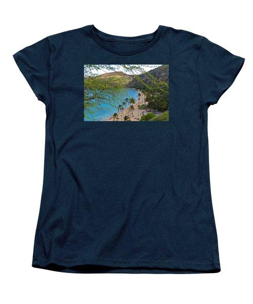 Hanauma Bay Nature Preserve Beach Through Monkeypod Tree Women's T-Shirt (Standard Cut) by Michele Myers