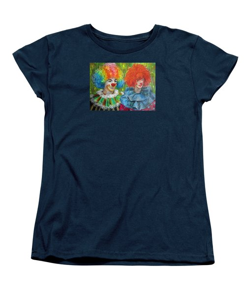 Women's T-Shirt (Standard Cut) featuring the painting Gemini Clowns by Jieming Wang