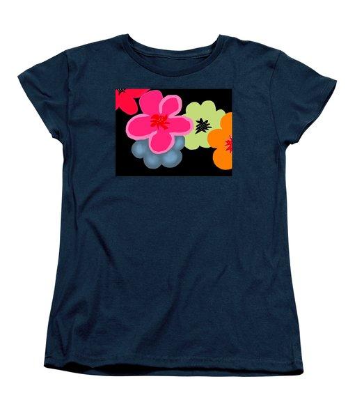 Women's T-Shirt (Standard Cut) featuring the digital art Happy Flowers Pink by Christine Fournier