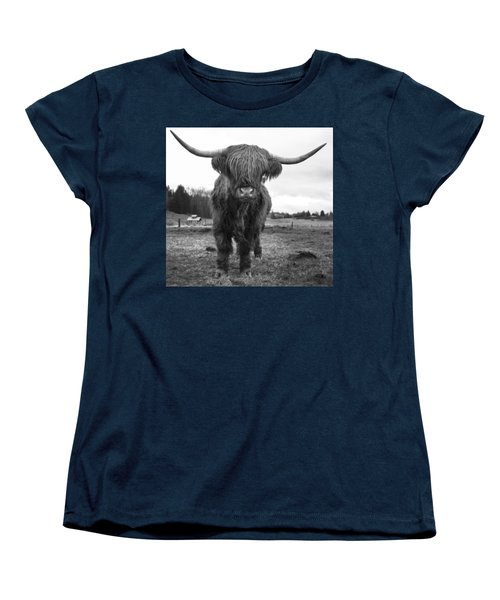 Happy Highland Cow Women's T-Shirt (Standard Cut) by Sonya Lang