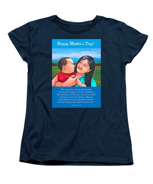 Happy Mom And Babe Women's T-Shirt (Standard Cut) by Cyril Maza