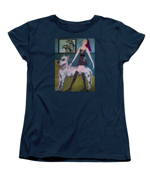 Women's T-Shirt (Standard Cut) featuring the painting Happy Walk By Jasna Gopic by Jasna Gopic