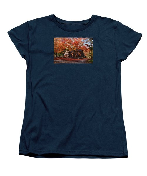 Women's T-Shirt (Standard Cut) featuring the photograph Hartwell Tavern Under Canopy Of Fall Foliage by Jeff Folger