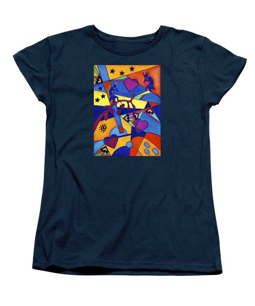 Women's T-Shirt (Standard Cut) featuring the painting Harvesting The Love Kokopelli Art  by Lori Miller