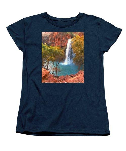 Women's T-Shirt (Standard Cut) featuring the photograph Havasu Falls by Alan Socolik