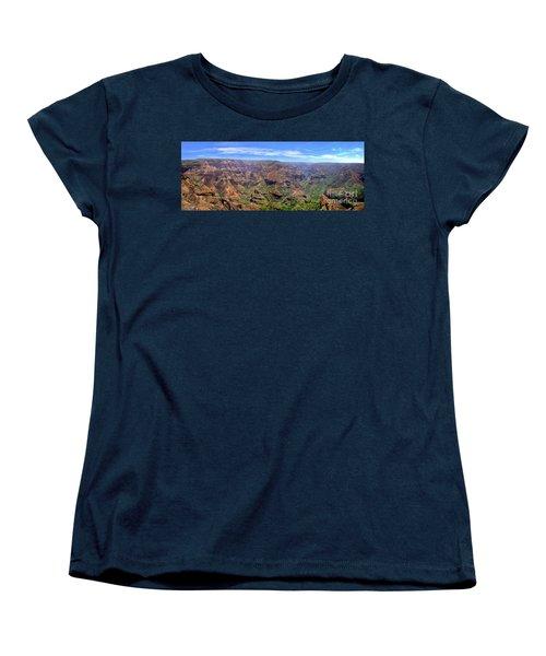 Hawaii Kauai Waimea Canyon Beautiful Panorama Women's T-Shirt (Standard Cut) by David Zanzinger