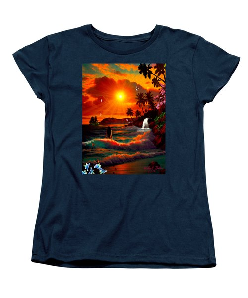 Women's T-Shirt (Standard Cut) featuring the digital art Hawaiian Islands by Michael Rucker