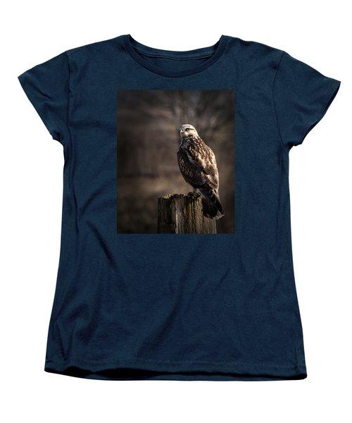 Hawk On A Post Women's T-Shirt (Standard Cut) by Randy Hall