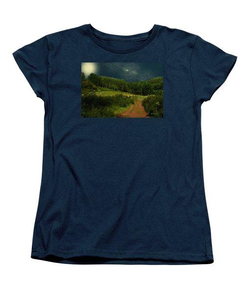 Hazy Moon Meadow Women's T-Shirt (Standard Cut) by RC deWinter
