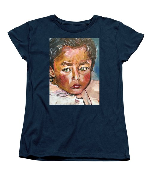 Women's T-Shirt (Standard Cut) featuring the painting Heal The World by Belinda Low