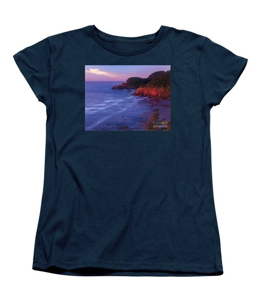 Women's T-Shirt (Standard Cut) featuring the photograph Heceta Head Lighthouse At Sunset Oregon Coast by Dave Welling