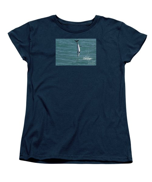 Hector Dolphin Diving Women's T-Shirt (Standard Cut) by Loriannah Hespe