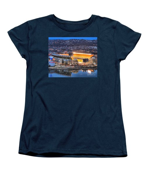 Heinz Field At Night Women's T-Shirt (Standard Cut) by Adam Jewell