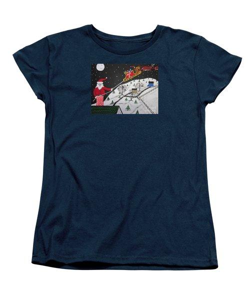Women's T-Shirt (Standard Cut) featuring the painting Help Santa's Stuck by Jeffrey Koss