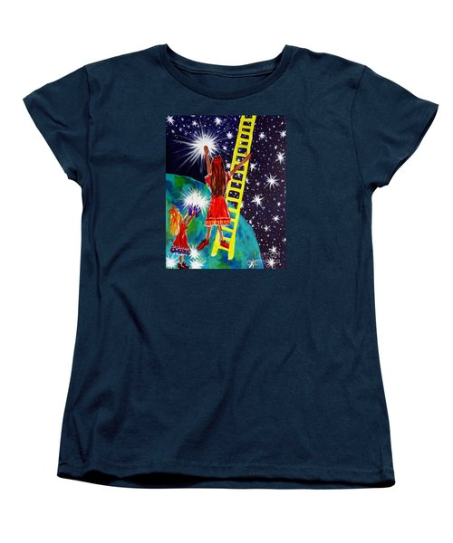 Women's T-Shirt (Standard Cut) featuring the painting Helping Hands by Jackie Carpenter