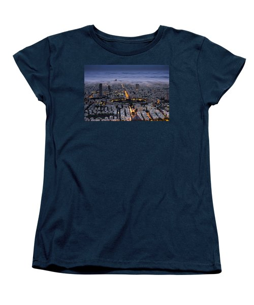 Here Comes The Fog  Women's T-Shirt (Standard Cut) by Ron Shoshani