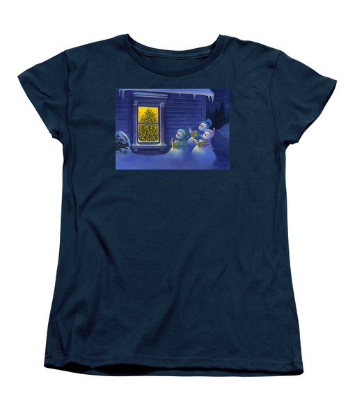 Women's T-Shirt (Standard Cut) featuring the painting Here We Come A Caroling by Michael Humphries