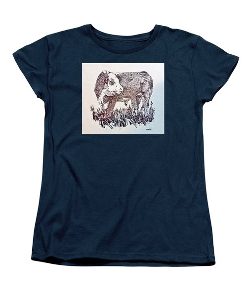 Women's T-Shirt (Standard Cut) featuring the drawing Polled Hereford Bull  by Larry Campbell