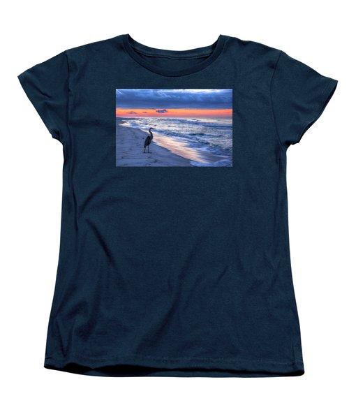 Heron On Mobile Beach Women's T-Shirt (Standard Cut) by Michael Thomas