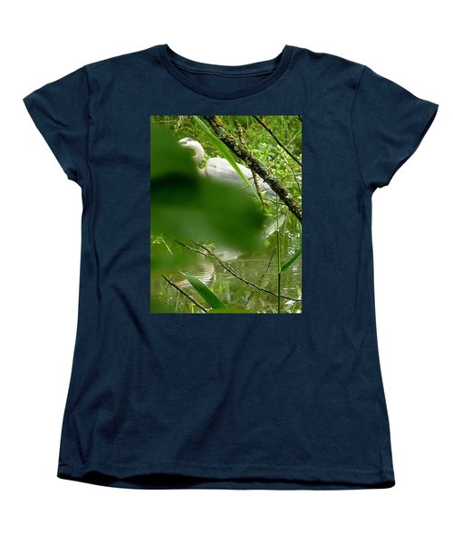 Women's T-Shirt (Standard Cut) featuring the photograph Hidden Bird White by Susan Garren