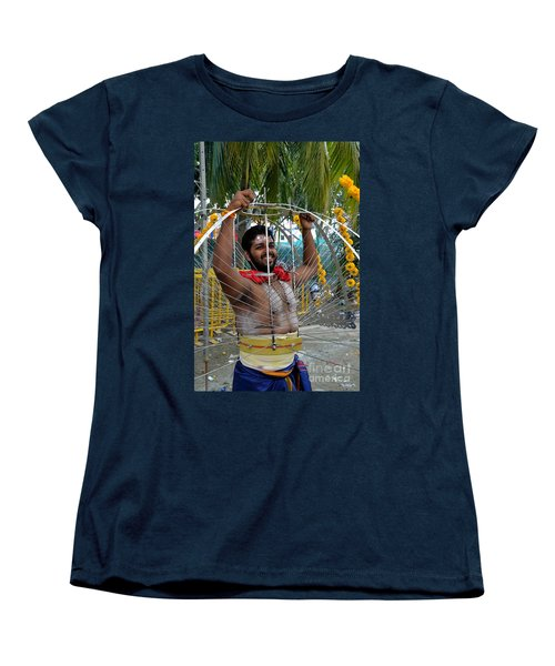 Women's T-Shirt (Standard Cut) featuring the photograph Hindu Thaipusam Festival Pierced Devotee  by Imran Ahmed