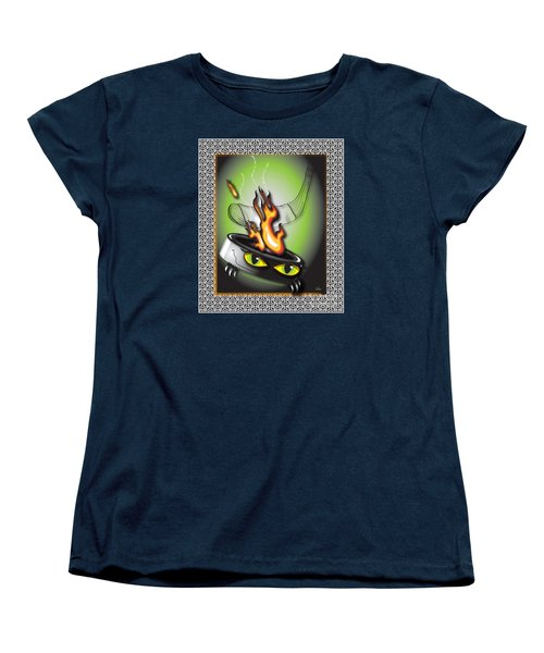 Hockey Puck In Flames Women's T-Shirt (Standard Cut) by Dani Abbott
