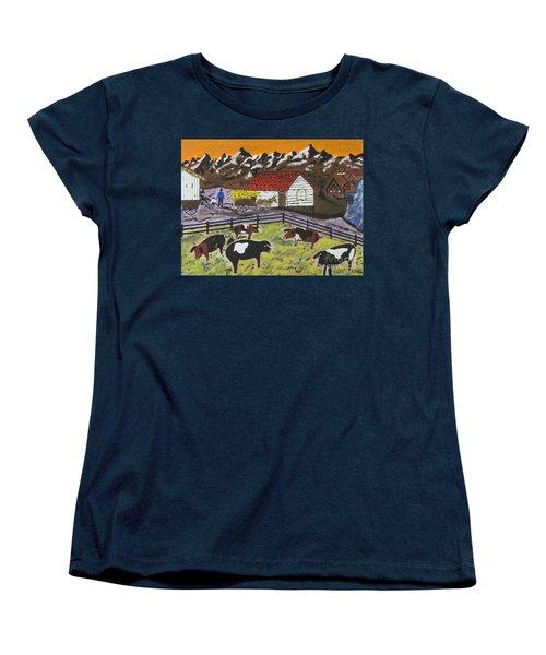Women's T-Shirt (Standard Cut) featuring the painting Hog Heaven Farm by Jeffrey Koss