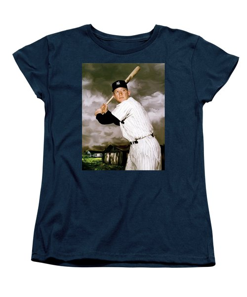 American Fabric   Mickey Mantle Women's T-Shirt (Standard Cut) by Iconic Images Art Gallery David Pucciarelli